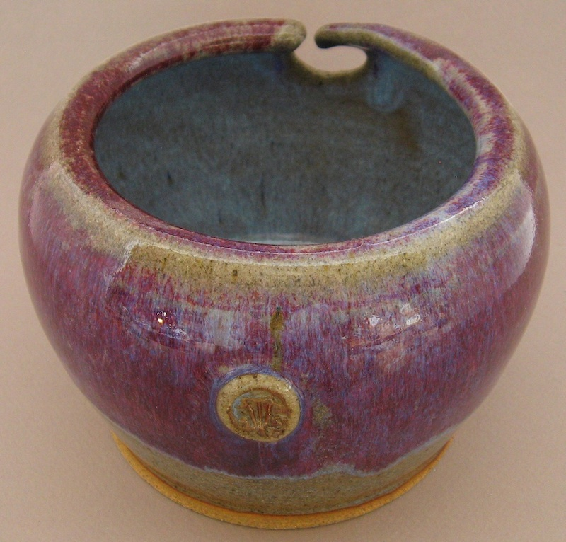 purple chun stoneware yarn bowl