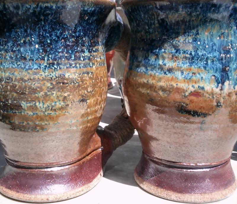 shino with blue stoneware glaze