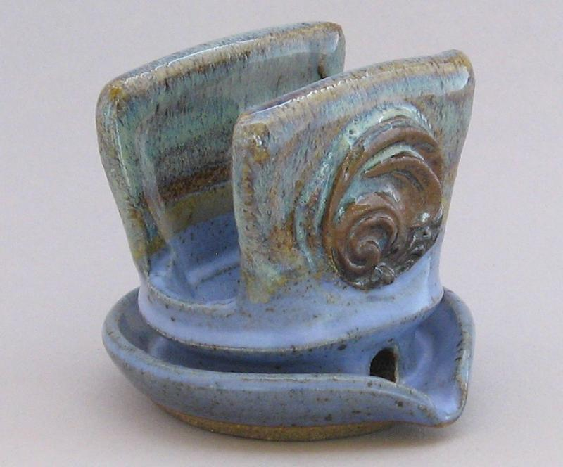 pottery soap stand grey and lavender