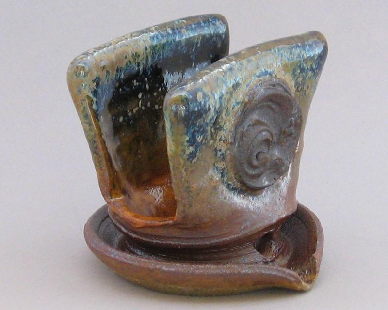 pottery sponge holder in shino glaze